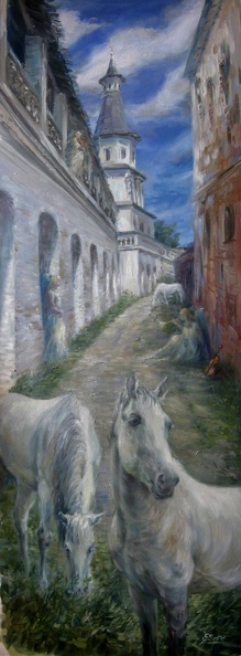 Available_Elena_Eros_In the Monastery, 48x18, Oil on canvas, Private Collection.JPG