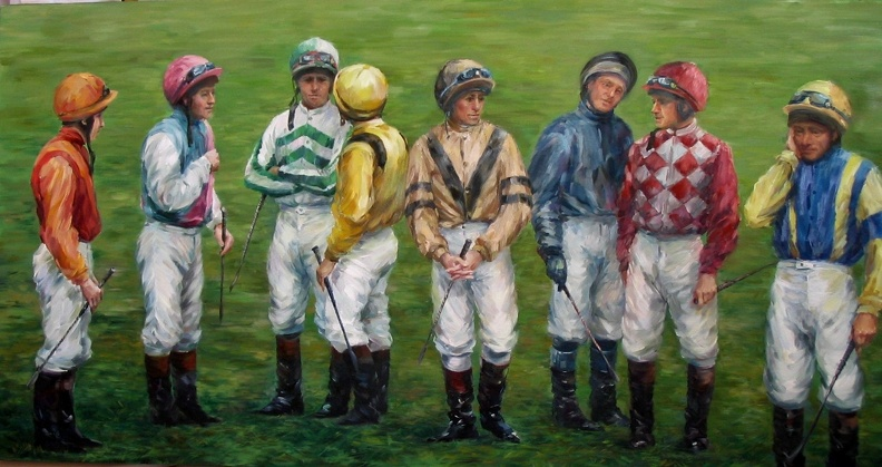 "Available_Elena_Eros_Jockeys 48""x24"" oil on canvas_$4.300.jpg"