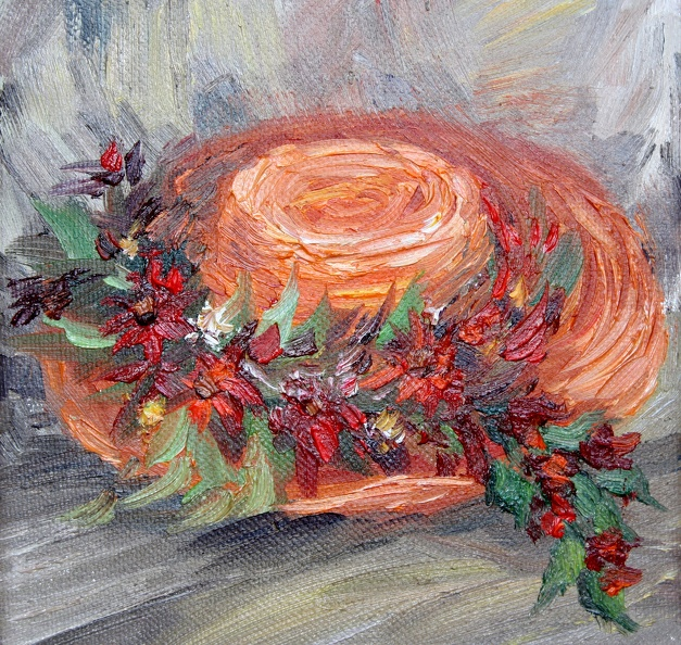 Available_Elena_Eros_Orange hat_Oil on vanvas_6x6_$250.JPG