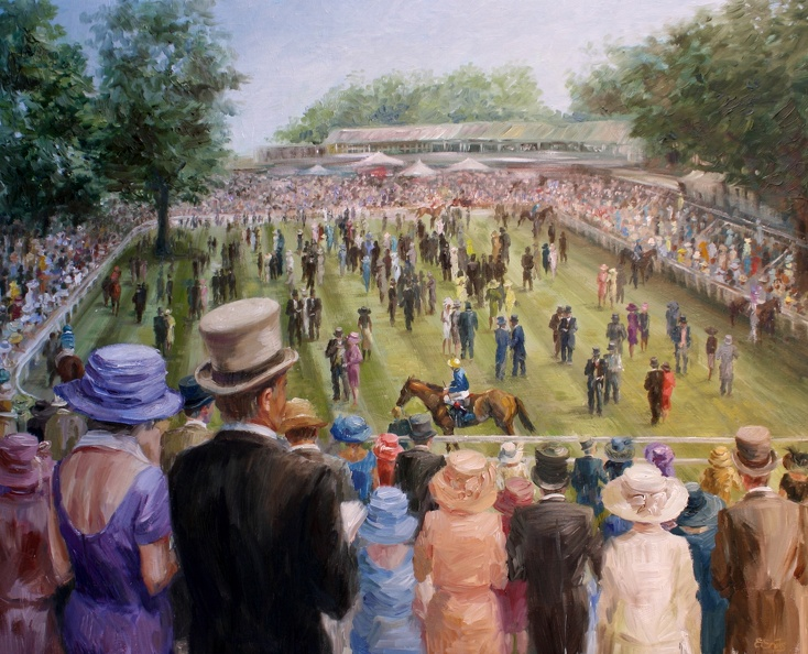 Elena_Eros_In the Paddock of Old Ascot_Oil on canvas_23x28_Sold, Giclee on canvas $400.JPG