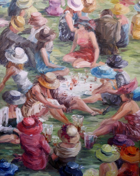 Elena_Eros_Lovely Day at Ascot_Oil on Canvas_$950.JPG