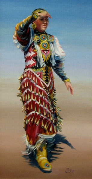 Elena_Eros_Pow Wow beauty_Oil on board_$850_33x18IMG_8911.JPG