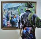 "Kimono Robe with ""New Paddock, Acot"" painting on it"