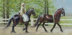 Elena Eros Friesian Beauties Oil on Canvas 18''x36''