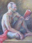 Reading Ibsen, 32x28, Pastel on paper