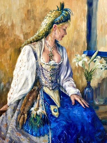 Renaissance Lady in blue skirt